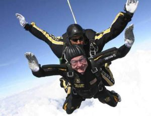 George H.W. Bush Skydiving at 90 WFMY